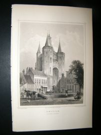 Holland Netherlands C1850's Antique Print. Zwolle, Sassen-Port